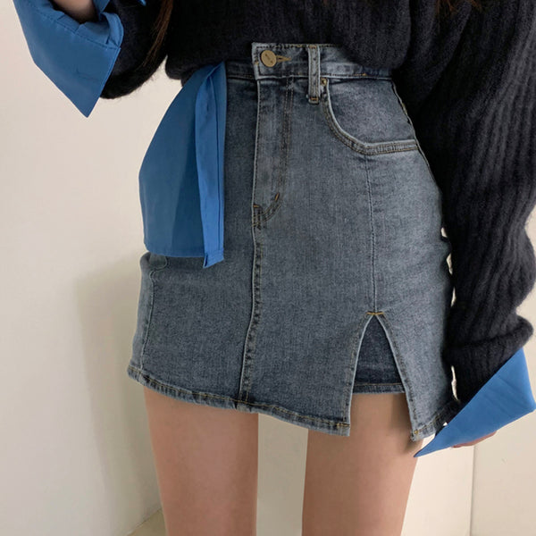 Design Style High-Waist Denim Skirt