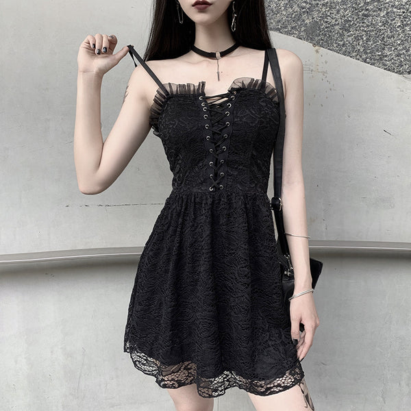 Lace Sling Slim Mini Dress