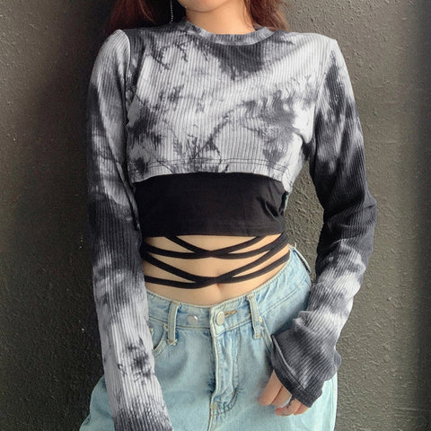Tie-Dyed Fake Two-Piece Crop Top