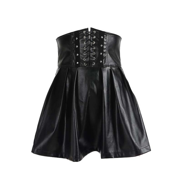 Adjustable Lace Up High Waist PU Skirt