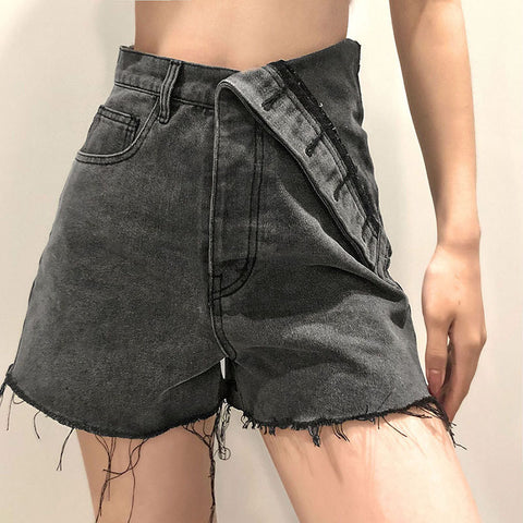 High Waist Irregular Denim Shorts