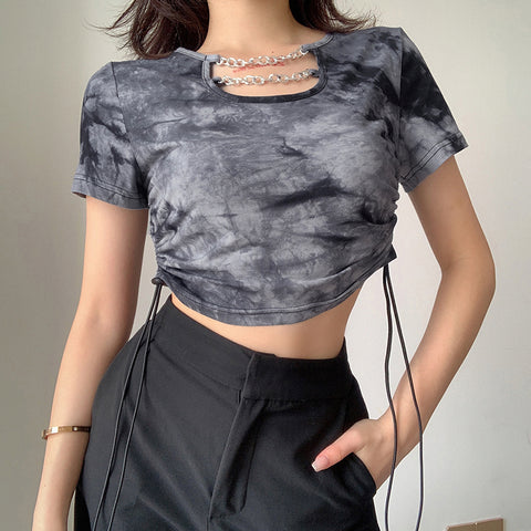 Design Style Chain Tie Dye Crop Tops