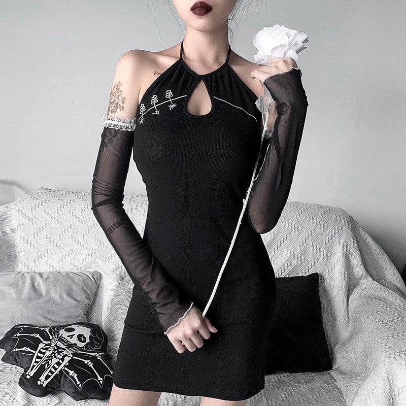 Embroidered Knitted Cutout Mini Dress