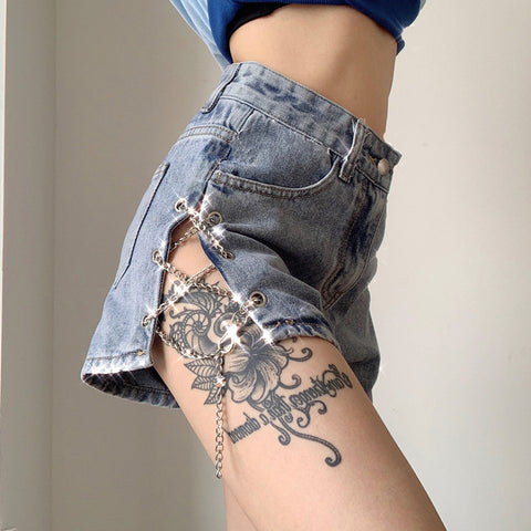 Irregular Chain High Waist Denim Shorts