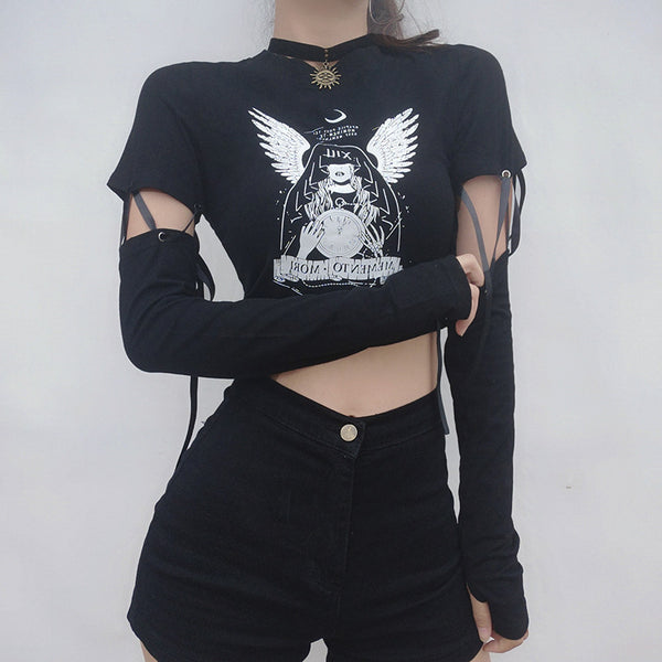 Angel Print Cutout Crop Top