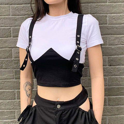 Unique Color Block Crop Top