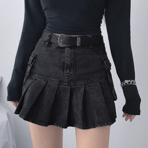 Retro Folds Pocket Denim Skirt