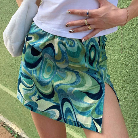 Swirl Print Split High Waist Skirt