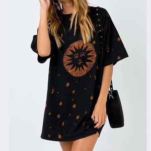Casual Round Neck Short Sleeve Printed Mid-length T-shirt