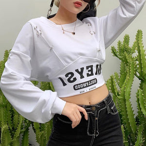 Fashion Letter Printed Crop Tops