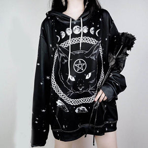 Fashion Gothic Cat Print Hoodies