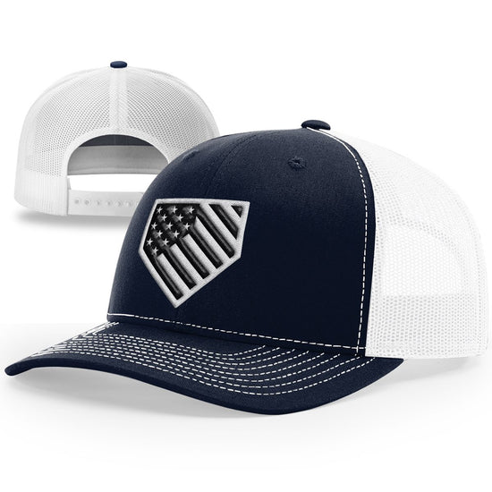 Home Plate Black And White USA Flag Hat - Patriot Wear