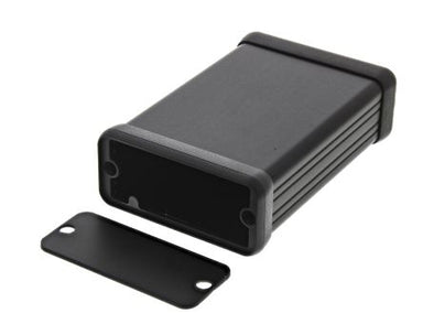 80 x 54 x 23mm Extruded black Aluminium IP54 with metal end plate enclosure