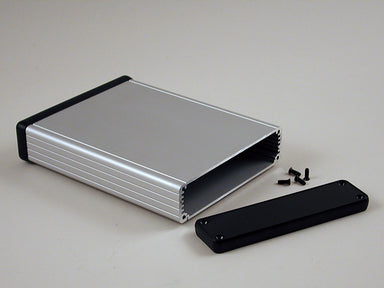 120 x 78 x 27mm Extruded Anodized Aluminium IP54  enclosure with plastic end plate