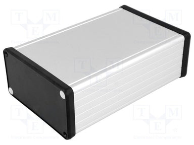 160 x 103 x 53mm Extruded Anodized Aluminium IP54  enclosure with plastic end plate