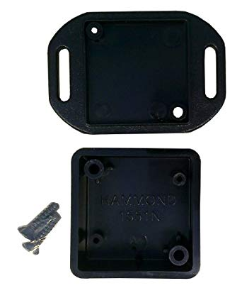 35 x 35 x 15mm miniature IP54 ABS black flanged enclosure