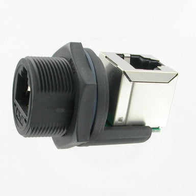 IP67 RJ45 panel rt angle coupler mated w/p