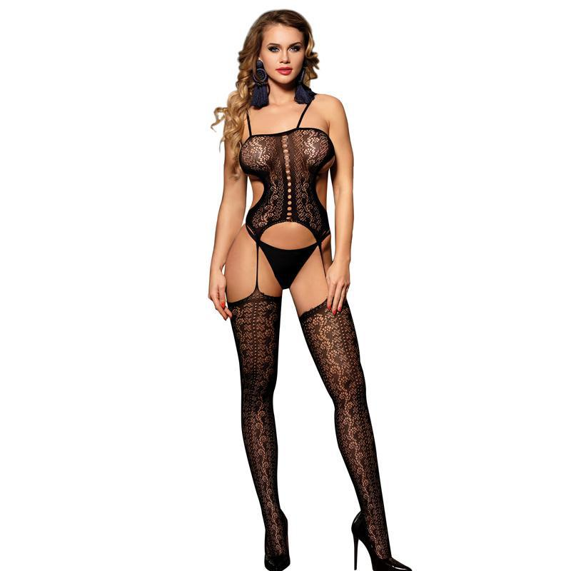 Plus Size Black Crotchless Siamese Teddy Sexy Lingerie