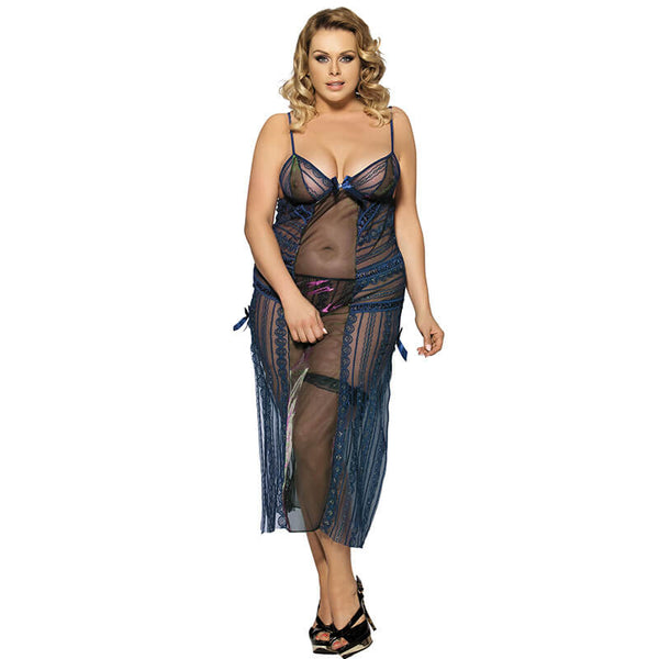 Plus Size Blue Babydoll Sheer Mesh Chemise Sexy Lingerie