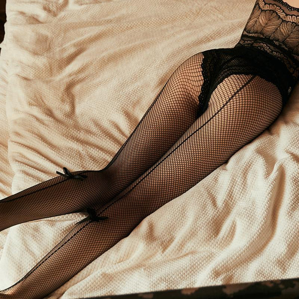 Black Lace Bow Fishnet Stockings-Stockings-CharmsChic