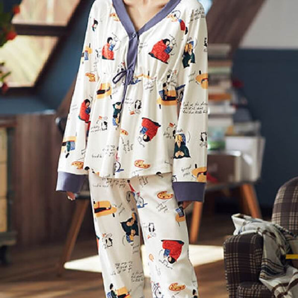 Cartoon Cute V-Neck Cotton Pajama Set-Pajama Set-CharmsChic