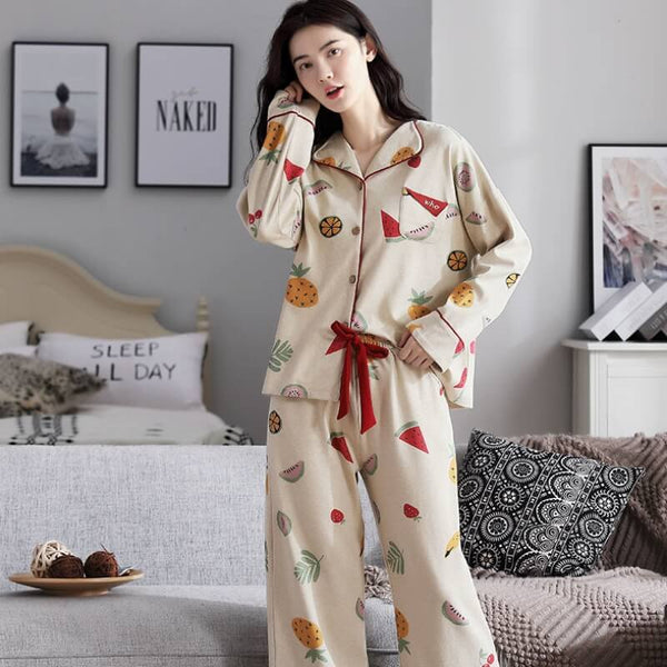 Comfort Thin Fruit Pajama Set-Pajama Set-CharmsChic