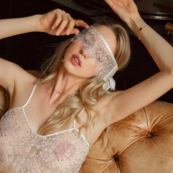 Mysterious Lace and Satin Eye-Mask-Masks-CharmsChic