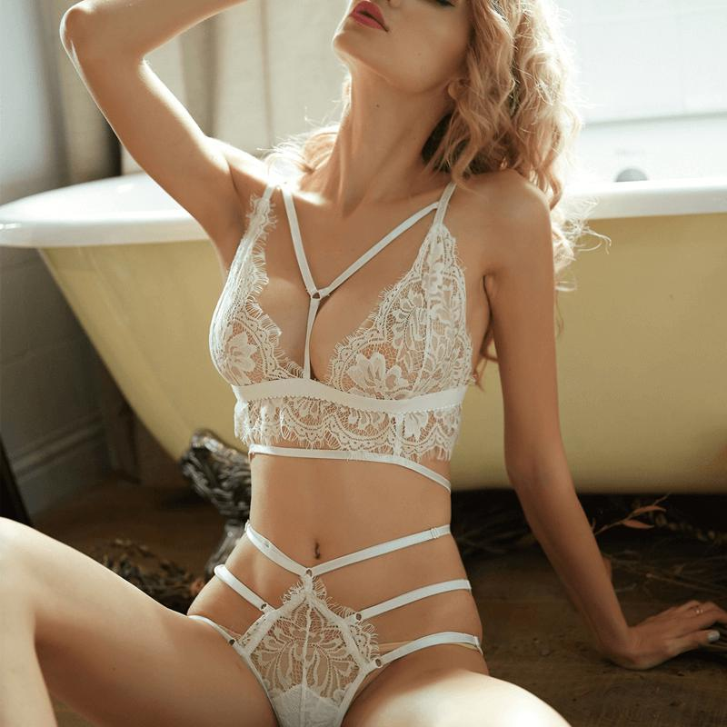 Semi-Sheer Lace Bra Sets-Bra Sets-CharmsChic