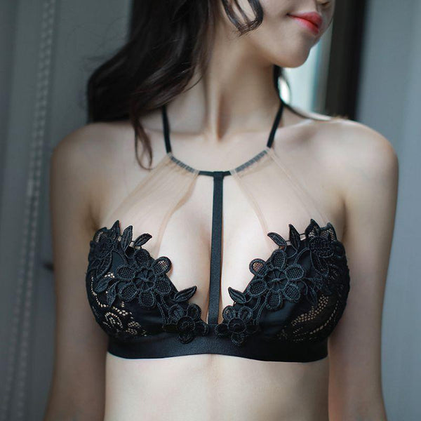 Sexy Floral Crochet Bra Set Black-Bra Sets-CharmsChic