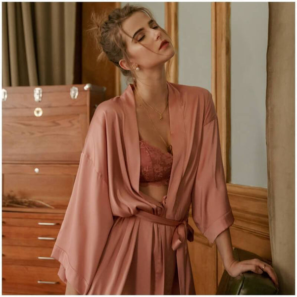 Sexy Short Satin Robe Sleepwear-Robes-CharmsChic