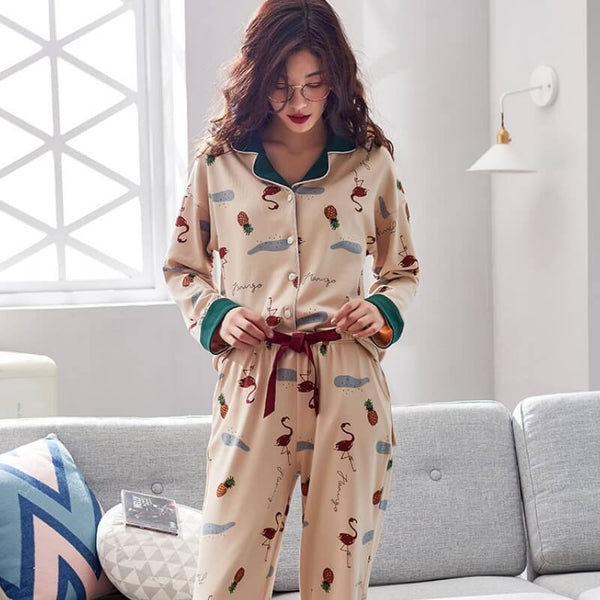 Spring Cotton Comfort thin Pajama Set-Pajama Set-CharmsChic