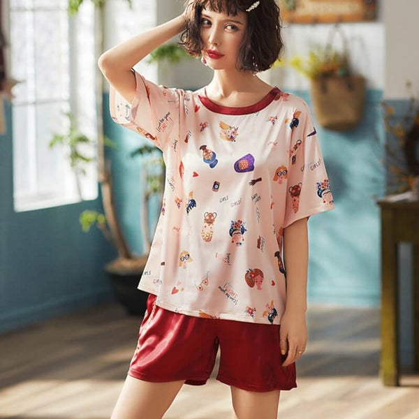 Summer Ice Silk Cute Pajama Shorts Set-Shorts-CharmsChic