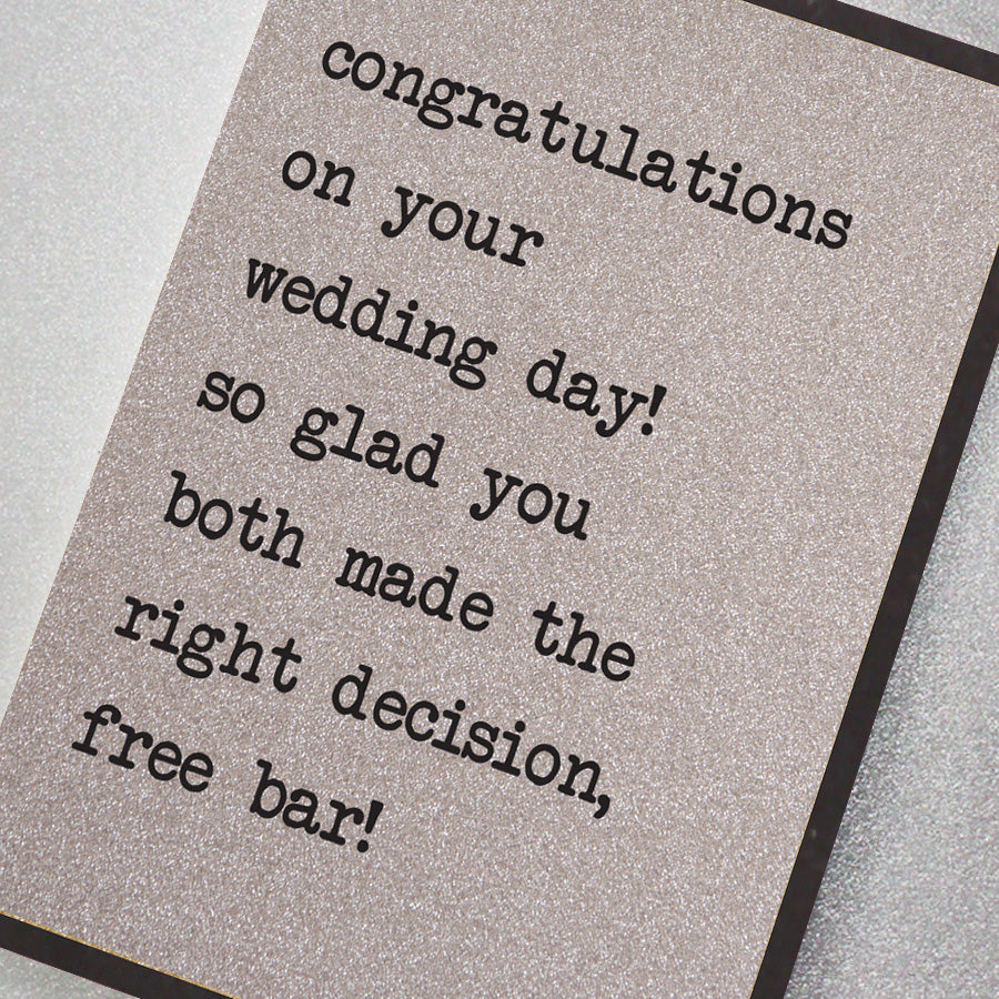 Congratulations on Your Wedding Day - Free Bar!
