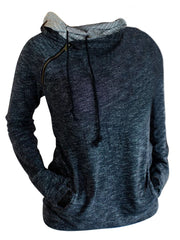 Fashion Casual Zipper Drawstring Open Pocket Solid Color Hoodie
