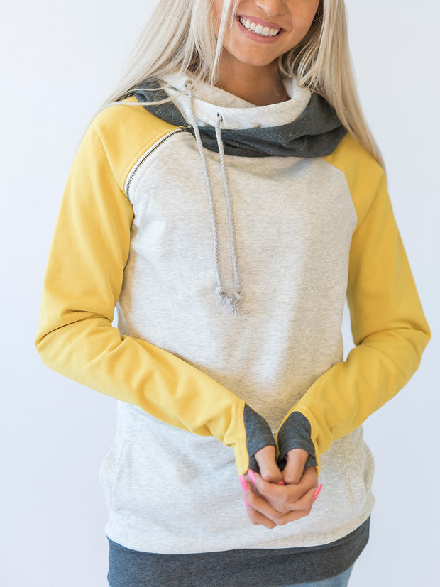 Fashion Drawstring Splice Long Sleeve Zipper Hoodie