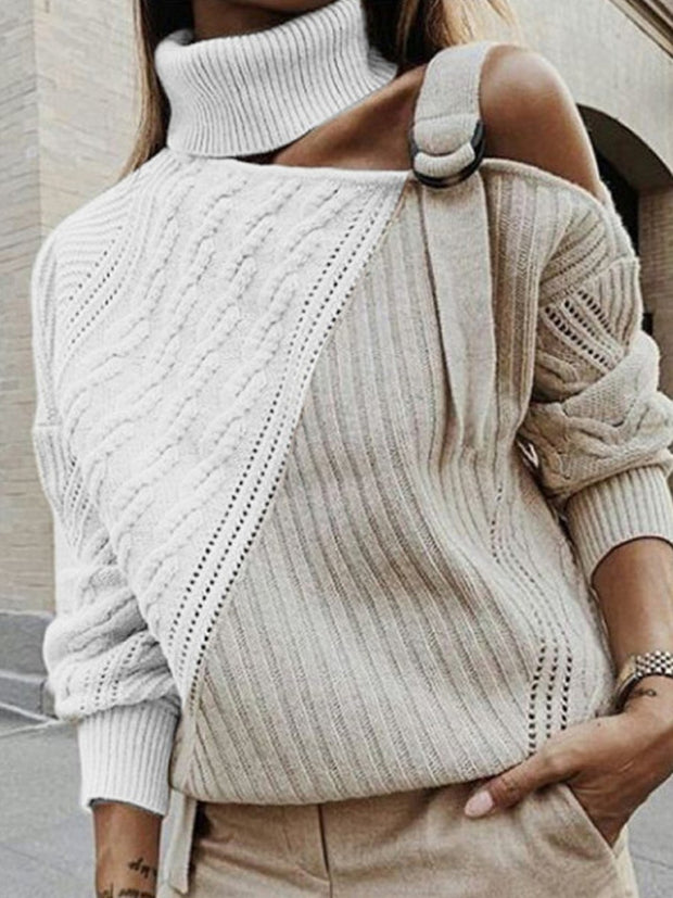 Women's Casual Off Shoulder Color-block Sweater