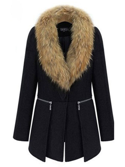 Fashion Loose Stitching Fur Collar Solid Coat