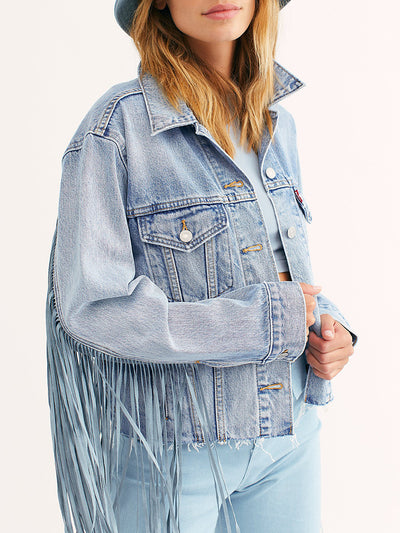 Fashion Open Pocket Fringe Denim Trucker Jacket