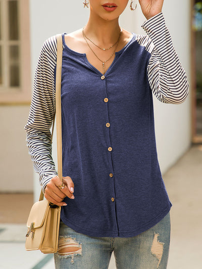 Single Breasted Striped Patchwork T-shirt