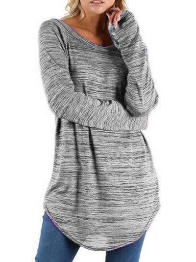 Round Neck Long Sleeve Casual Long T-shirt