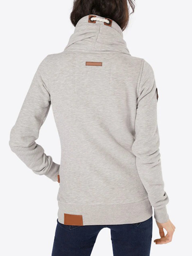 Side Pockets Shawl Collar Splice Long Sleeve Solid Color Hoodie