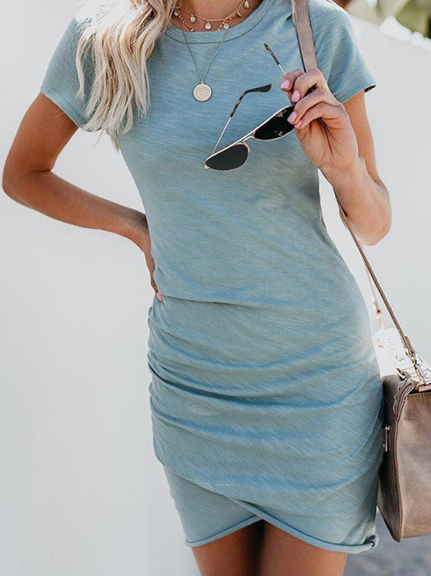Sexy Casual O-Neck Bodycon Dress Slim Short Sleeve Irregular Mini Dress