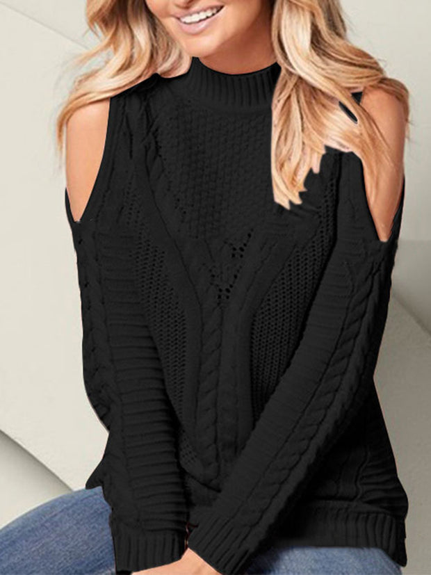 Off Shoulder Long Sleeve Solid Color Sweater
