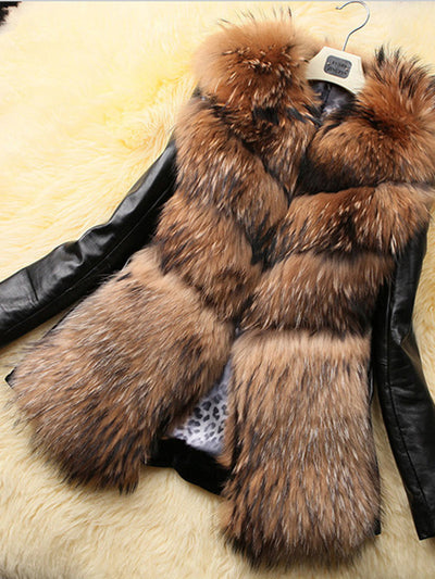 Fashion Faux Fur Leather Splice Coats