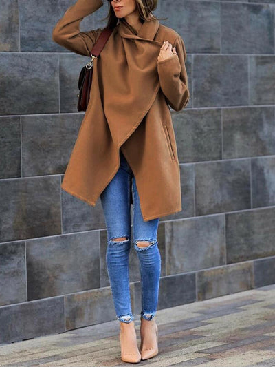 Casual Loose Solid Color Long Sleeve Coat