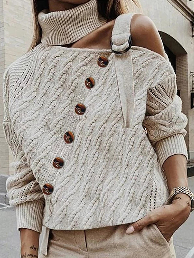 Turtleneck Long Sleeve Off Shoulder Sweater