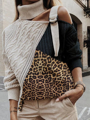 Women's Leopard Knit Turtleneck Sweater