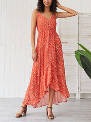 Fashion Sexy Sleeveless Vacation Point Printed Maxi Dress