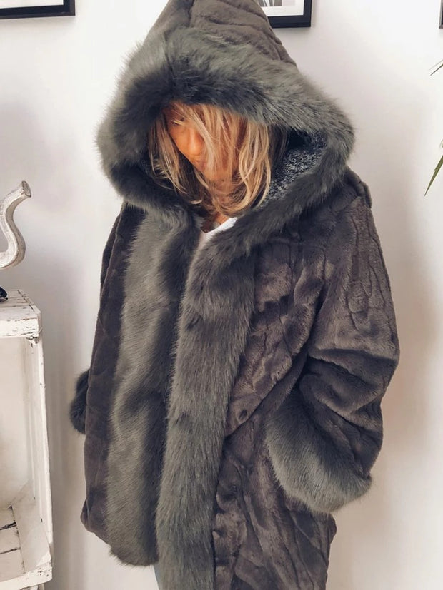 Winter Hooded Solid Color Plush Splice Coat