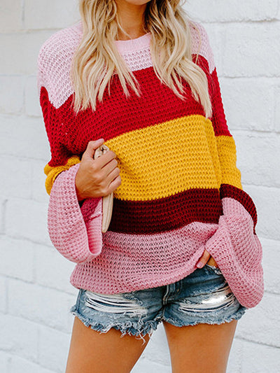 Ladies Loose Horn Sleeves Striped Sweater